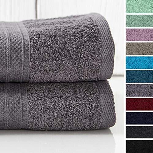 Lumaland Premium 2er Set XXL Badetücher Handtücher Frottee 100 x 150 cm aus 100% Baumwolle 500 g/m² mit Aufhänger grau