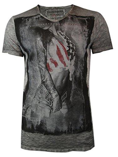 trueprodigy Casual Herren Marken T-Shirt mit Aufdruck, Oberteil cool und stylisch mit V-Ausschnitt (kurzarm & Slim Fit), Shirt für Männer bedruckt Farbe: Anthra 1062142-0403 Anthracite