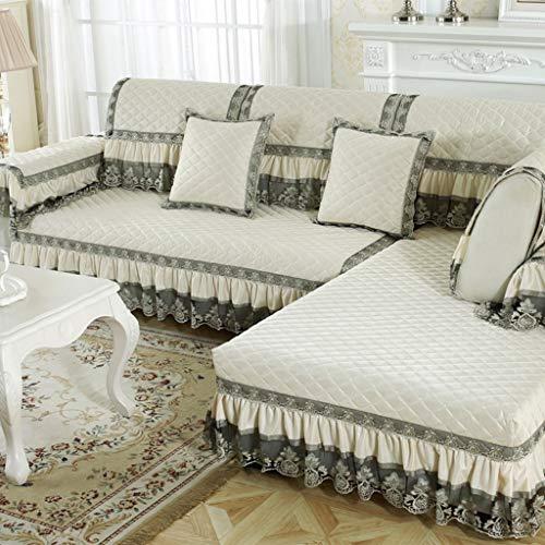 ZCM Copridivano, Flax Four Seasons Copridivano all-Season Stretch Sofa Fodera Antiscivolo Elastic Polyester Beige (Un Pezzo) (Dimensioni : 90 * 240cm)
