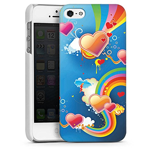 Apple iPhone 4 Housse Étui Silicone Coque Protection C½ur Amour Arc-en-ciel couleur CasDur blanc