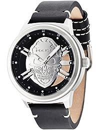 Police 14685JS/04 - Reloj de pulsera analógico para hombre (mecanismo de cuarzo, esfera plateada y correa de piel negra)