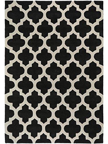 benuta Alfombra moderna Artisan Gris Antracita 160x230 cm - libre de contaminación - 100% Lana - Ornamental - Handtufted - Cuarto de estar