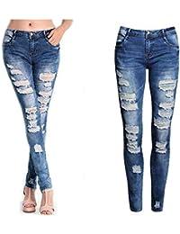 Saoye Fashion Mujer Pantalones Pantalones Vaqueros del Dril De Algodón De  Ropa La Moda Pantalones Vaqueros 8841d6f9dc82