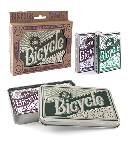 Bicycle Retro Tin Playing Card Gift Set 1036727-Retro 2 collectionneurs Jeu de Cartes, Violet et Vert, 62.5x88 mm