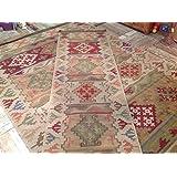 Grande comercio justo lana geométrico de Bikaner alfombra Kilim–verde mostaza rojo 180cm x 270cm