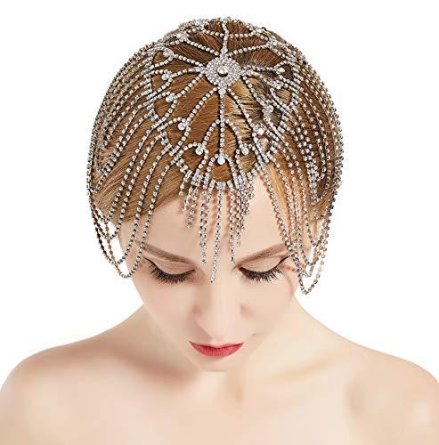 Kostüm Haar Flapper - ArtiDeco 1920s Stirnband Damen Haar Kette Gatsby Kostüm Accessoires 20er Jahre Flapper Blinkendes Haarband
