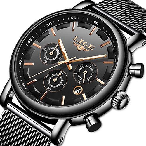 Orologio da uomo semplice acciaio inossidabile cronografo impermeabile del cavità orologi al quarzo analogici nero affari designers orologio da polso militare data del calendario orologio