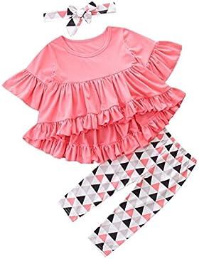 Neugeborene Baby Kinder Kleidung Longra 3 Stück Kinder Mädchen Kleider Set Langarmshirts Tops und Geometrische...
