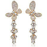 Rolicia Phoenix Tail Butterfly Gold Plate White Czech Crystal 6.6*2.5 cm Earrings Drops Studs Swarovski Design Gift Box