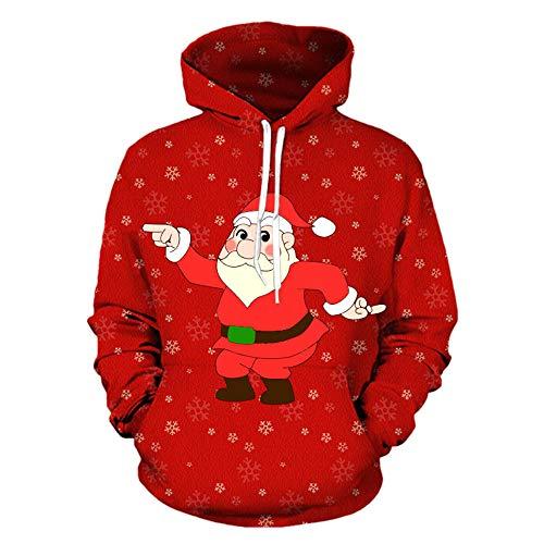 Preisvergleich Produktbild Bovake Weihnachten Unisex 3D Printed Kapuzenpullover Sweatshirt Mit Kapuze Hoodie Jacke Pullover Winterjacke Mantel Parka Freizeit Tops Casual Longsleeve