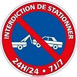 Interdiction de stationner 24H/24 7J/7 - Panneau - Plastique rigide disque PVC - Diamètre 350 mm - Double face au dos - Garantie 10 ans - panneau stationnement gênant