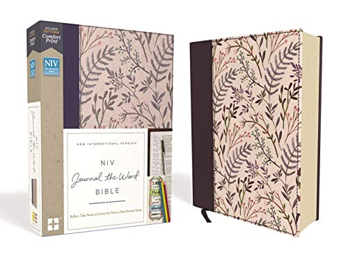 NIV, Journal the Word Bible, Cloth Over Board, Pink Floral, Red Letter Edition, Comfort Print: Reflect, Take Notes, or Create Art Next to Your Favorit
