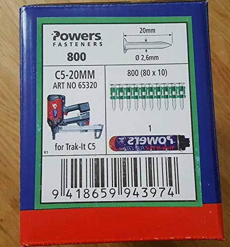 Powers ongles C5-20 mm Gaz Cloueuse, Würth Diga CS - 2,...