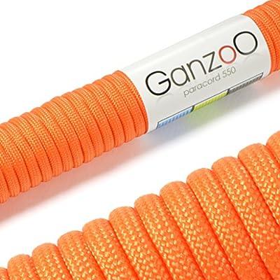 """Universell einsetzbares Survival-Seil aus reißfestem """"Parachute Cord"""" / """"Paracord"""" (Kernmantel-Seil aus Nylon), 550lbs, Gesamtlänge 31 Meter (100 ft) DIESES PARACORD SEIL IST NICHT ZUM KLETTERN GEEIGNET! Farbe: orange - Marke Ganzoo von Ganzoo"""