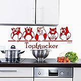 Sunnywall Wandtattoo Topfgucker Eulen Vögel Kochen Küche Essen Wandsticker Kardinalrot Gr2