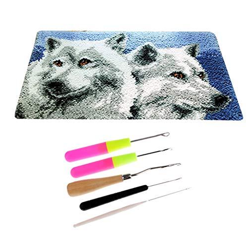 Baoblaze Set Wolf- Knüpfteppich Formteppich für Kinder und Erwachsene zum Selber Knüpfen Teppich, Latch Hook Kit -