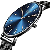 LIGE Relojes Hombre Azul Ultrafino Impermeable Acero Inoxidable Reloj Hombre Moda...