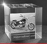 VIP-LASER 2D GRAVUR Glas Kristall Würfel mit dem Foto von Deinem Motorrad. Dein Wunschfoto für die Ewigkeit mitten in Glas! Groesse XXL = 80x80x80mm
