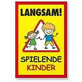 Langsam Spielende Kinder Kunststoff Schild (gelb-rot, 20 x 30cm), Hinweisschild, Warnzeichen, Warnschild langsam fahren, Warnung, Hinweis Spielstraße/Spielplatz - Vorsicht spielende Kinder
