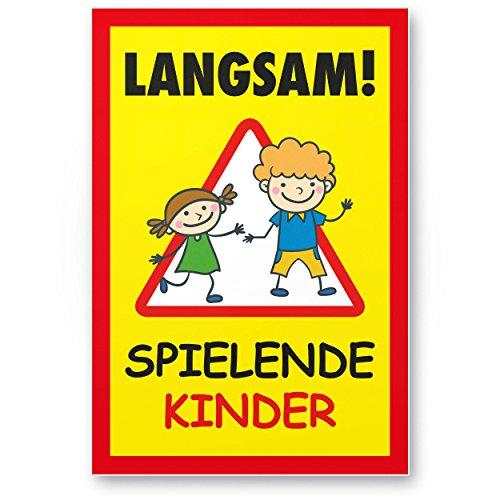 Langsam Spielende Kinder Kunststoff Schild (gelb-rot, 20 x 30cm), Hinweisschild, Warnzeichen, Warnschild langsam fahren, Warnung, Hinweis Spielstraße/Spielplatz - Vorsicht spielende Kinder (Kind Schild)