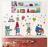 ZXCLKJH Vinilo Decorativo Animales,Selva Extraíble Animal Cartoon Tatuajes De Pared Jirafa Owl Panda Bufandas Butterfly Globos Decoración De Pared para Guardería Infantil Dormitorio Salón