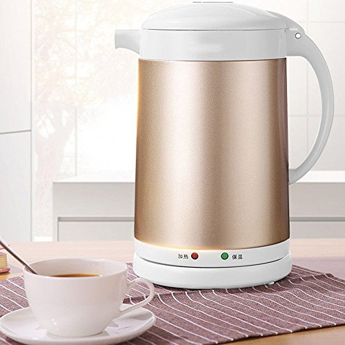 BCQ Electric Kettle Stainless Steel Gold Three Layers of Anti-Hot 1500W 1.7L Insulation Separable Base Automatic Power off Home Travel Electric Kettles