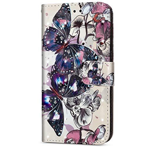 Herbests Kompatibel mit Huawei P20 Lite Handytasche, Bling Glitzer Leder Handy Hülle Flip Case Tasche Cover mit Handy Wallet Case Cover Brieftasche Schutzhülle,Schwarz Schmetterling