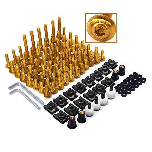Kit completo di bulloni, viti, dadi e clip di fissaggio universali per carrozzeria per il parabrezza delle moto in alluminio billet lavorato a macchina a controllo numerico