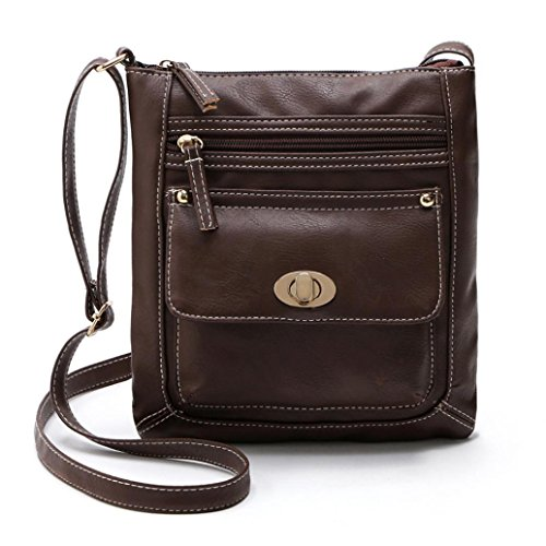 Saingace Womens Leder Satchel Crossbody Schulter Messenger Bag Handtaschen Schultertasche Freizeitrucksack Tasche Rucksäcke Kaffee