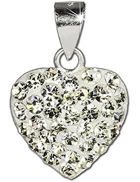 SilberDream Glitzer Anhänger Herz weiß mit Zirkonia Kristallen shiny 925 Sterling Silber Kettenanhänger für Kette...