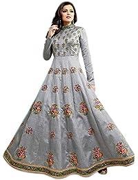 W Ethnic Women Banglory Silk Anarkali Semi-Stitched Salwar Suit (WE--ER-Ewe10765_Gray_Free Size)