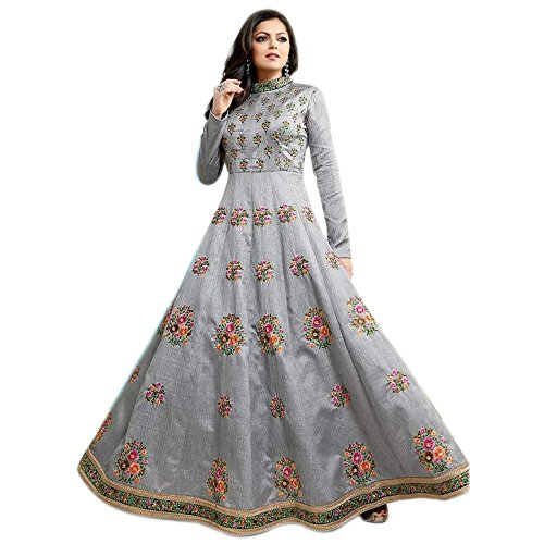 Ethnic Empire Women\'s Albela Silk Semi Stitched Anarkali Salwar Suits (Eed-Ea10765_Grey_Free Size)