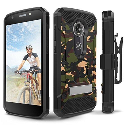 Motorola Moto E5Plus Fall, evocel [Explorer Pro-Serie] mit Glas Displayschutzfolie und Metallständer für Motorola Moto E5Plus, Camouflage - Telefono T-mobile