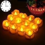 LED Kerzen,12er LED Flammenlose Kerzen mit Timerfunktion Led Teelichter 6 Stunden an und 18 Stunden aus, flackernde batteriebetriebene kerzen, warme weiße