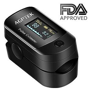 Pulsoximeter, Blutsauerstoffsättigung Monitor und Pulsmesser mit OLED-Display, Alarm und Auto-Off-Funktion, von AGPTEK, Schwarz