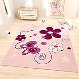 Moderner Kinder Teppich handgeschnittene Konturen Sterne Blumen Schmetterlinge Farbe Pink Lila – VIMODA; Maße: 160x230 cm