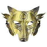 iiniim Máscara de Ojos de Hombre Lobo Juego de Simulación Accesorio de Hombres Lobo Juego de Mesa Disfraz Halloween Horror Wolf Costume Mask Plateado/Dorado Dorado One Size