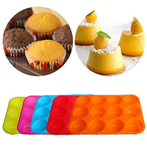 Hergon 12-Runde integrierte Runde Silikon - zufällige Farbe Silikonform Eiswürfel Schokolade Cupcake Seifenformen
