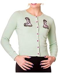 Hell Bunny Ladies Mint Green Cardigan Top Nancy 50s Flamingo All Sizes