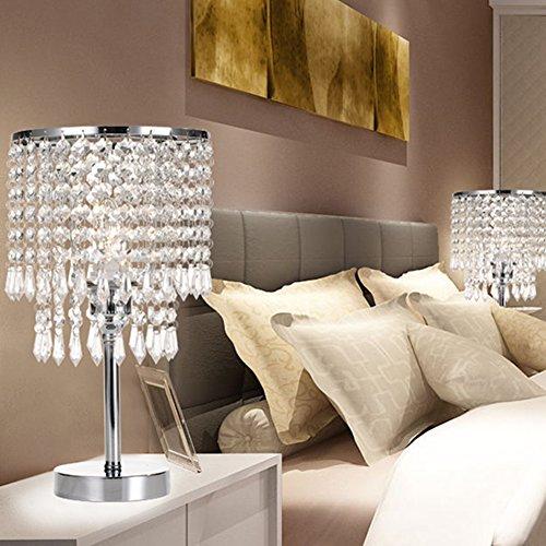 Tischleuchte, T-MIX luxuriöse Kristall-Lampenschirm Edelstahl Fassungen stilvolle Schönheit in den Schlafzimmer Wohnzimmer platziert - 3