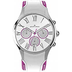 Jacques Lemans Capri 1-1606E Ladies Chronograph White/Purple Leather Strap Watch