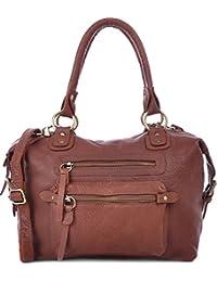 MASQUENADA, Cntmp, Damen Henkeltaschen Schultertaschen, Bolt-Bags, Handtaschen, Umhängetaschen, Soft Leder 29x27x14cm (B x H x T)