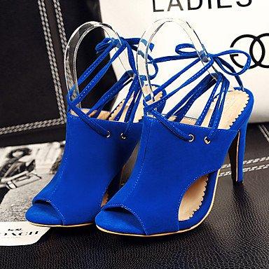 LvYuan Da donna-Sandali-Casual-Cinturino alla caviglia-Quadrato-Microfibra-Nero Blu Rosso Red