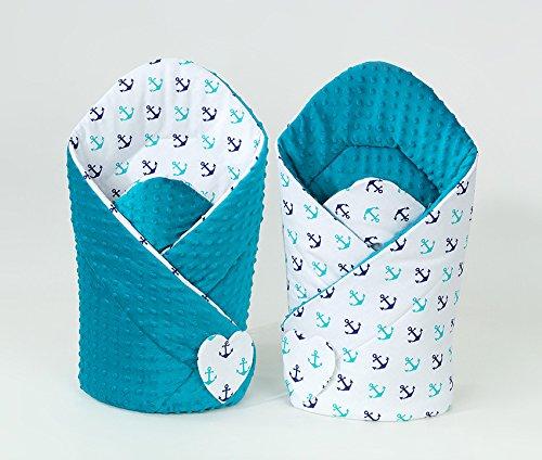 Schlafsack Pucksack Baby 2in 1–Einschlagdecke wendbar Stoff Minky Hohe Qualität