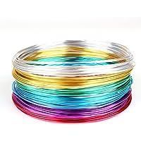 Creacraft Set di Filo di gioielli: 6 colori in rotoli (per 5 metri) - Filo d'alluminio 1mm, anodizzato