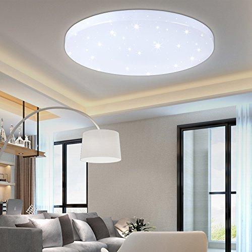 HG® 16W LED Deckenleuchte Deckenlampe Weiß Wandlampe rund Deckenbeleuchtung Wohnraum Wand-Deckenleuchte Esszimmer Lampe Starlight-Effekt schön Mordern Panel Energiespar Decken EEK A++ Modern Dekor