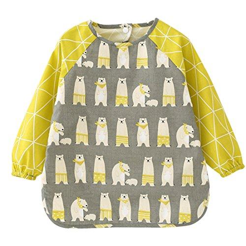 HAPPY CHERRY Kinder Jungen Mädchen Lätzchen Unisex Schürze Malschürze Wasserdicht Babylätzchen mit Niedliche Muster Langarm Baby Bib Fütterung Kinderkittel Größe 110 - Grau