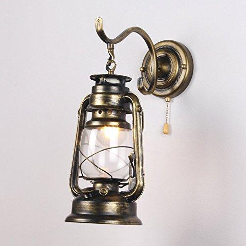 Nclon Wandleuchten Metall Wand-laterne Kerosin Wandleuchte Transparent Glas Lampenschirm Mit Zugschalter kette Indoor Wandlampen-Bronze 20x40cm(8x16inch) (Bronze-wand-laterne)