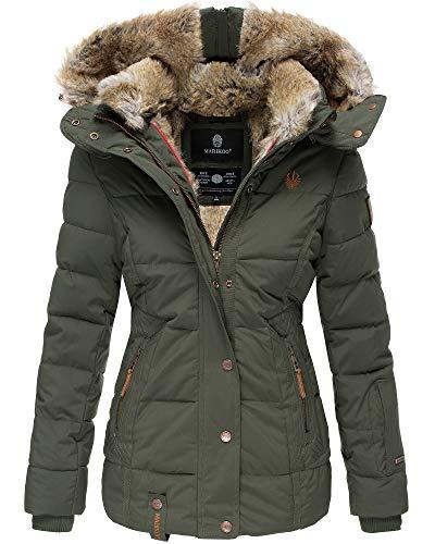 Marikoo Damen Winter Jacke Stepp Jacke Kunst-Fellkragen Warm gefüttert NKO167 (Large, Olivgrün)