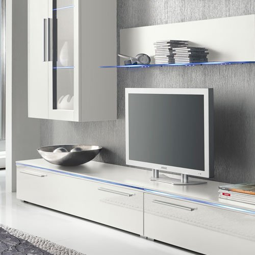 Anbauwand 6-tlg. Hochglanz grau, 2 x TV-Element, 2 x Hängevitrine, 2 x Glasbodenpaneel, Mindestbreite: ca. 300 cm, Tiefe: ca. 40 cm - 3